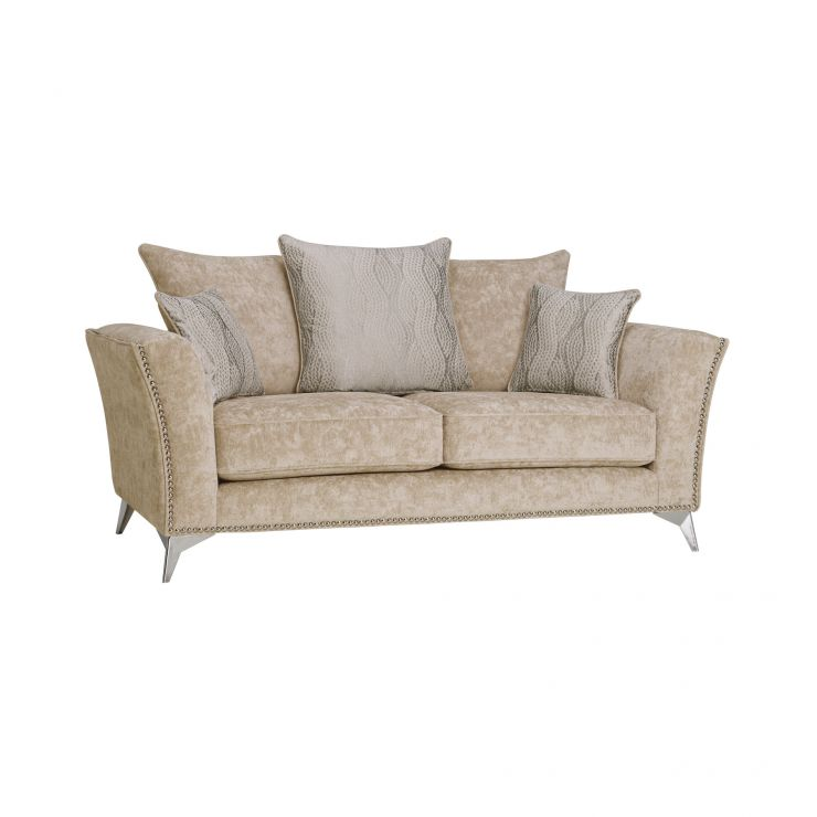 Quartz Pillow Back Beige 2 Seater Sofa in Fabric