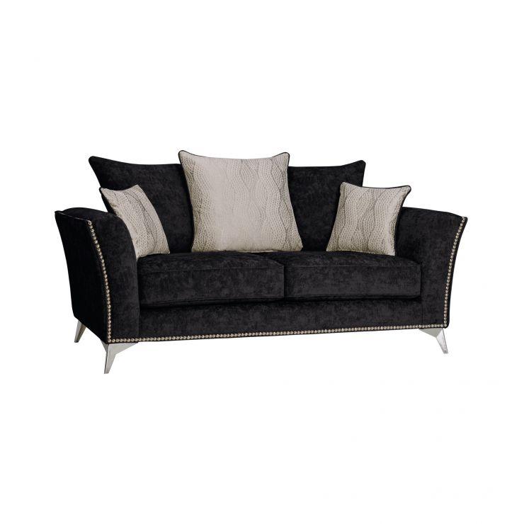 Quartz Pillow Back Black 2 Seater Sofa in Fabric