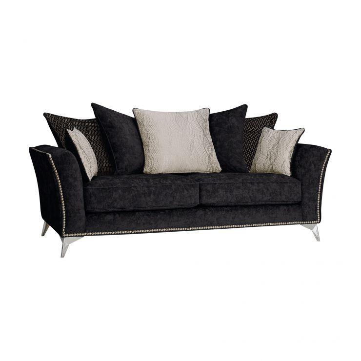 Quartz Pillow Back Black 3 Seater Sofa in Fabric