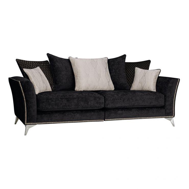 Quartz Pillow Back Black 4 Seater Sofa in Fabric