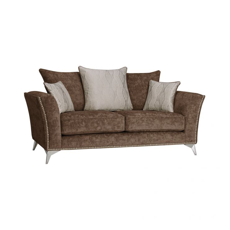 Quartz Pillow Back Chocolate 2 Seater Sofa in Fabric