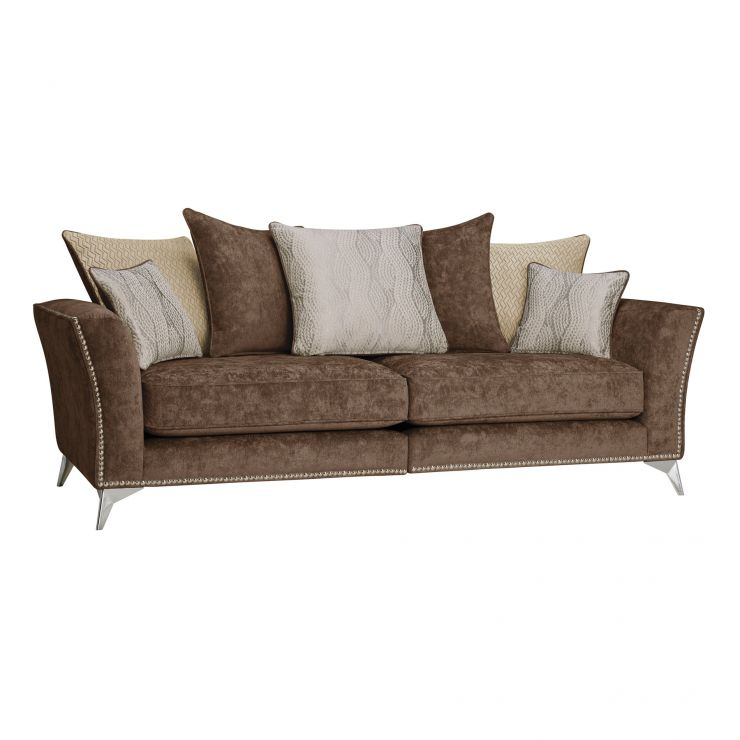 Quartz Pillow Back Chocolate 4 Seater Sofa in Fabric