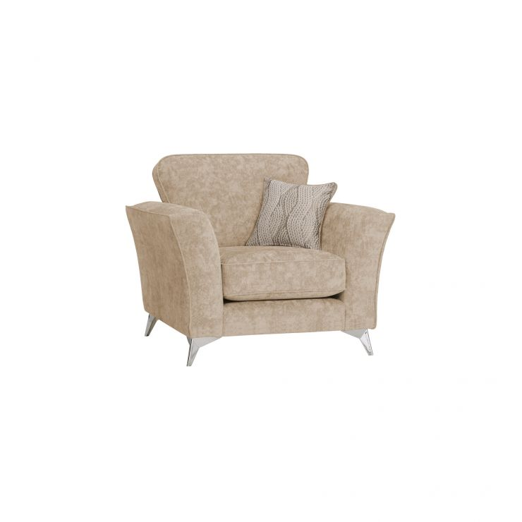 Quartz Traditional Beige Armchair in Fabric