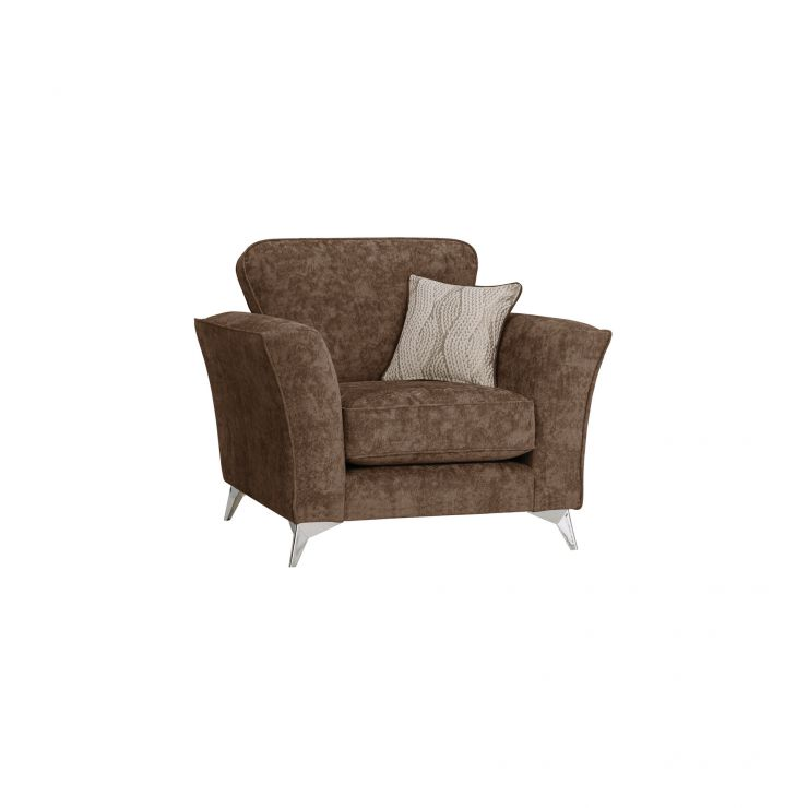 Quartz Traditional Chocolate Armchair in Fabric - Image 1