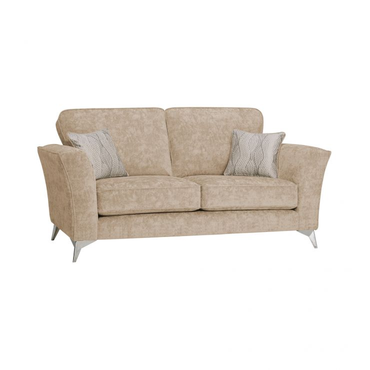 Quartz Traditional High Back Beige 2 Seater Sofa in Fabric