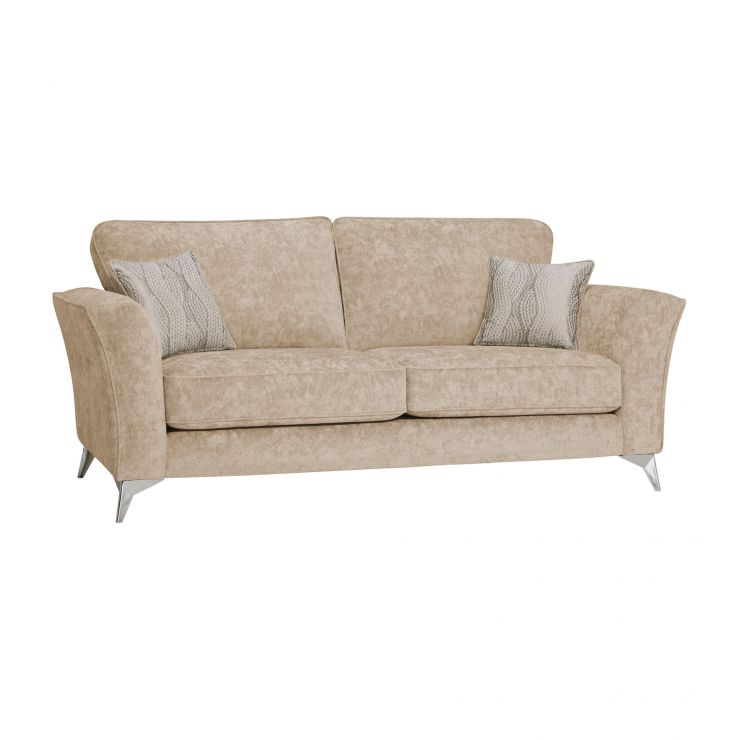 Quartz Traditional High Back Beige 3 Seater Sofa in Fabric