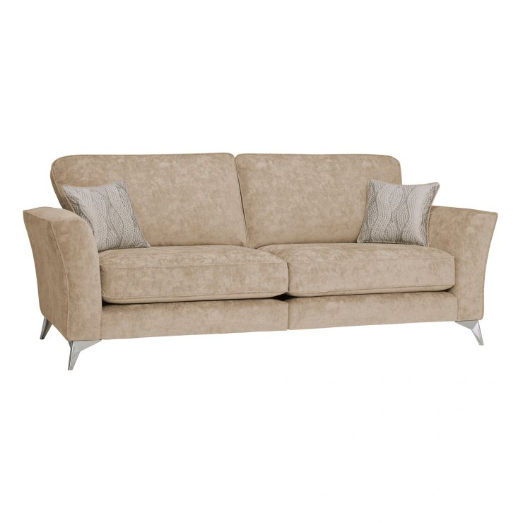 Quartz Traditional High Back Beige 4 Seater Sofa in Fabric