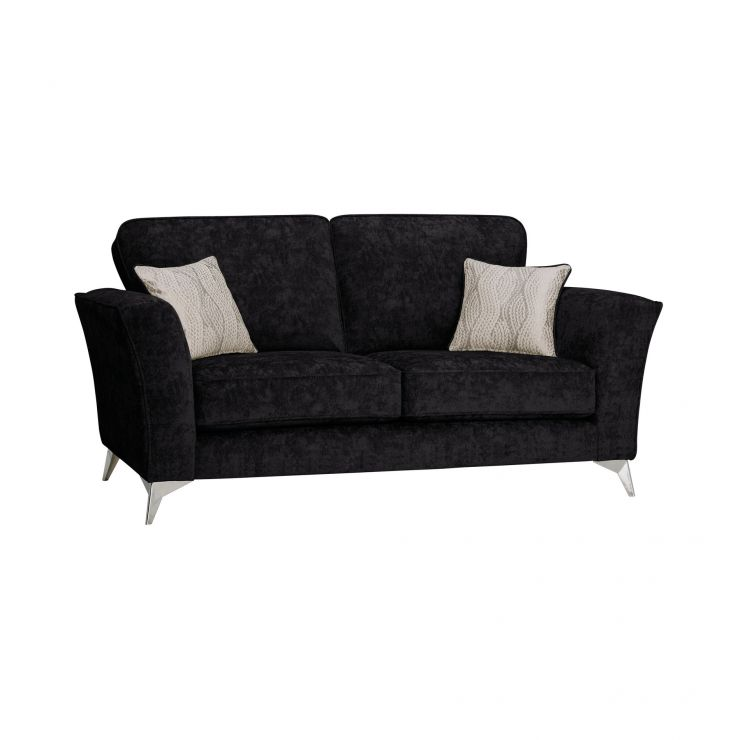 Quartz Traditional High Back Black 2 Seater Sofa in Fabric