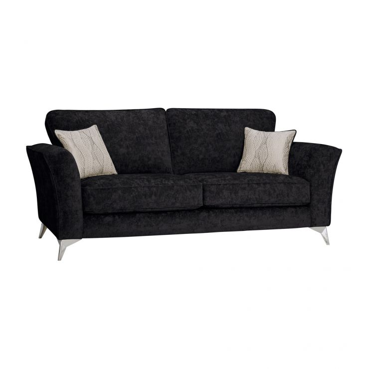 Quartz Traditional High Back Black 3 Seater Sofa in Fabric