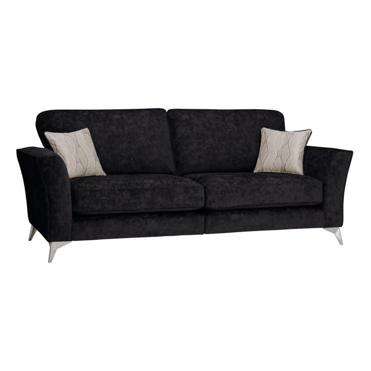 Quartz Traditional High Back Black 4 Seater Sofa in Fabric