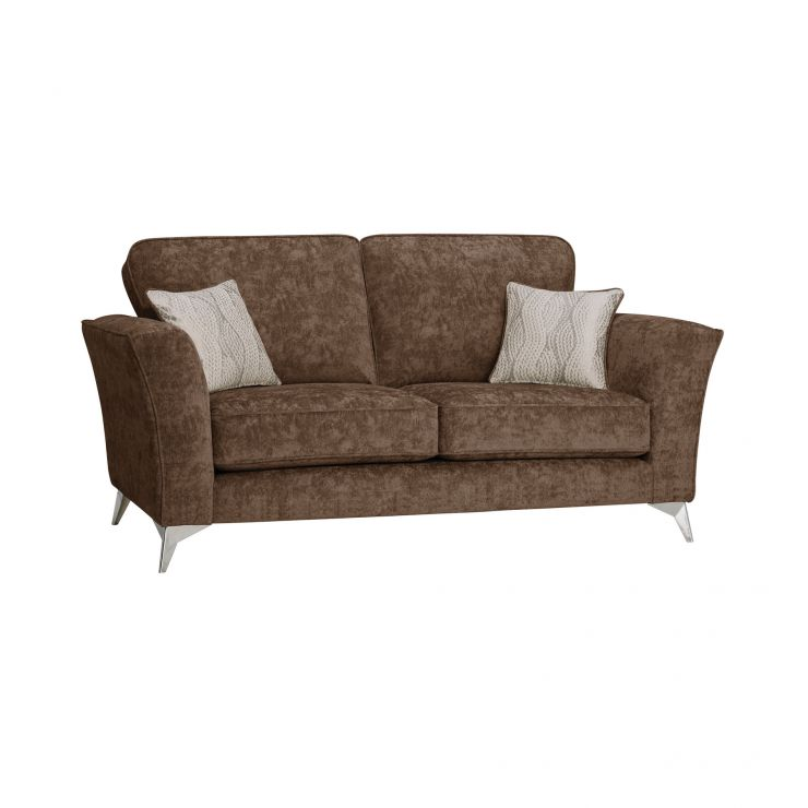 Quartz Traditional High Back Chocolate 2 Seater Sofa in Fabric
