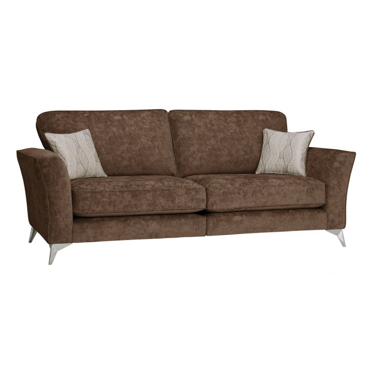 Quartz Traditional High Back Chocolate 4 Seater Sofa in Fabric