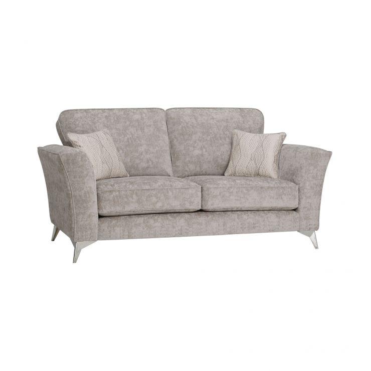 Quartz Traditional High Back Nickel 2 Seater Sofa in Fabric