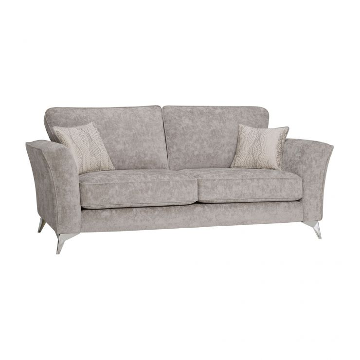 Quartz Traditional High Back Nickel 3 Seater Sofa in Fabric