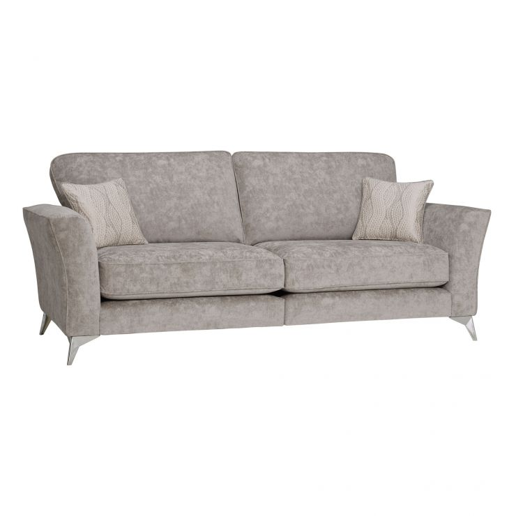 Quartz Traditional High Back Nickel 4 Seater Sofa in Fabric - Image 1