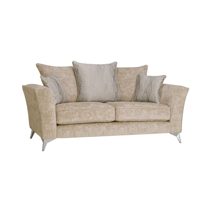 Quartz Traditional Pillow Back Beige 2 Seater Sofa in Fabric