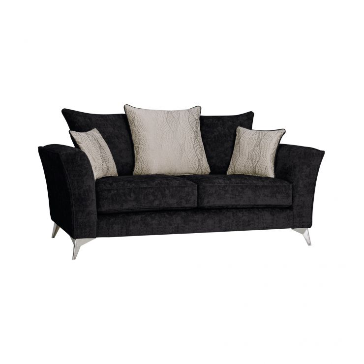 Quartz Traditional Pillow Back Black 2 Seater Sofa in Fabric - Image 1