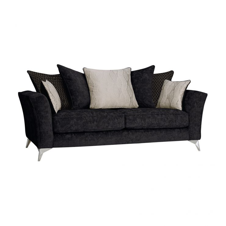 Quartz Traditional Pillow Back Black 3 Seater Sofa in Fabric