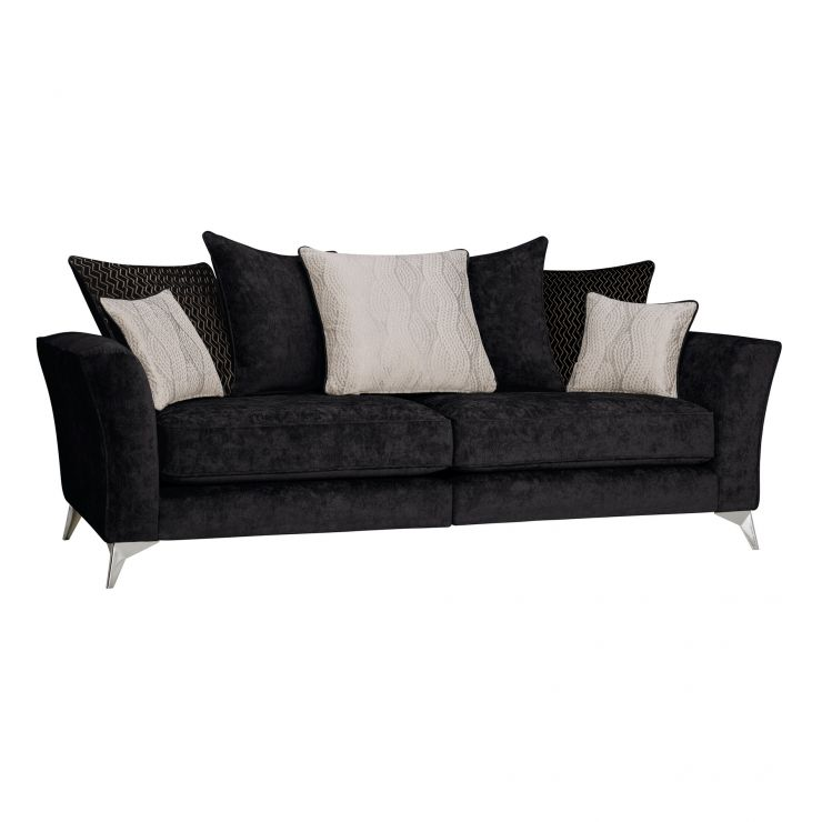 Quartz Traditional Pillow Back Black 4 Seater Sofa in Fabric