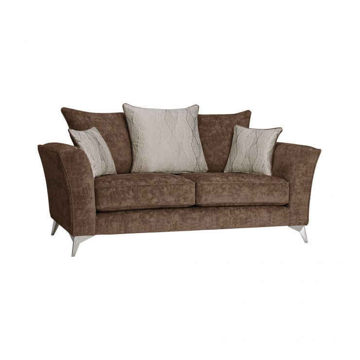 Quartz Traditional Pillow Back Chocolate 2 Seater Sofa in Fabric