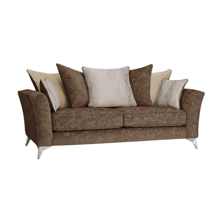 Quartz Traditional Pillow Back Chocolate 3 Seater Sofa in Fabric