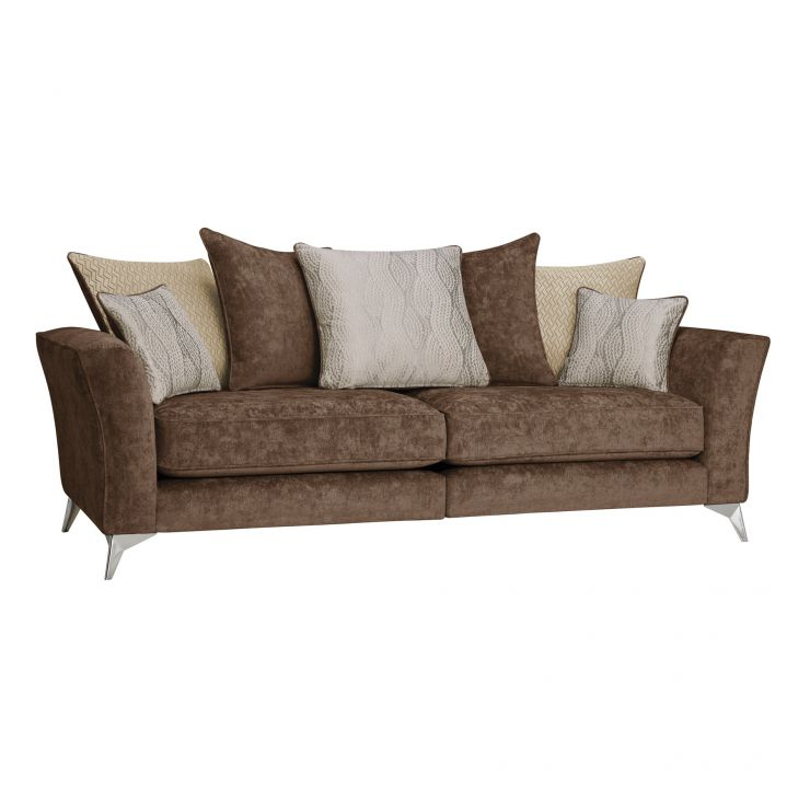 Quartz Traditional Pillow Back Chocolate 4 Seater Sofa in Fabric