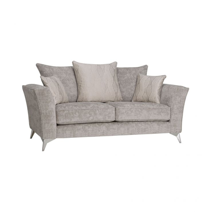 Quartz Traditional Pillow Back Nickel 2 Seater Sofa in Fabric