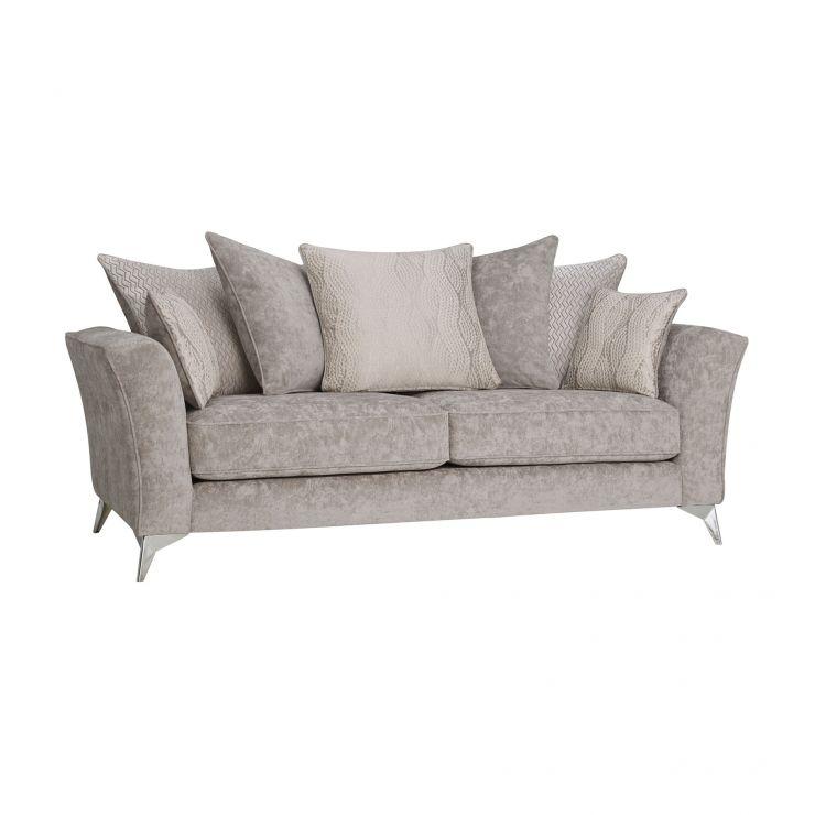 Quartz Traditional Pillow Back Nickel 3 Seater Sofa in Fabric