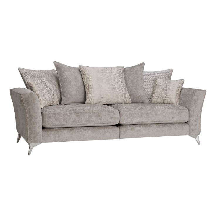 Quartz Traditional Pillow Back Nickel 4 Seater Sofa in Fabric