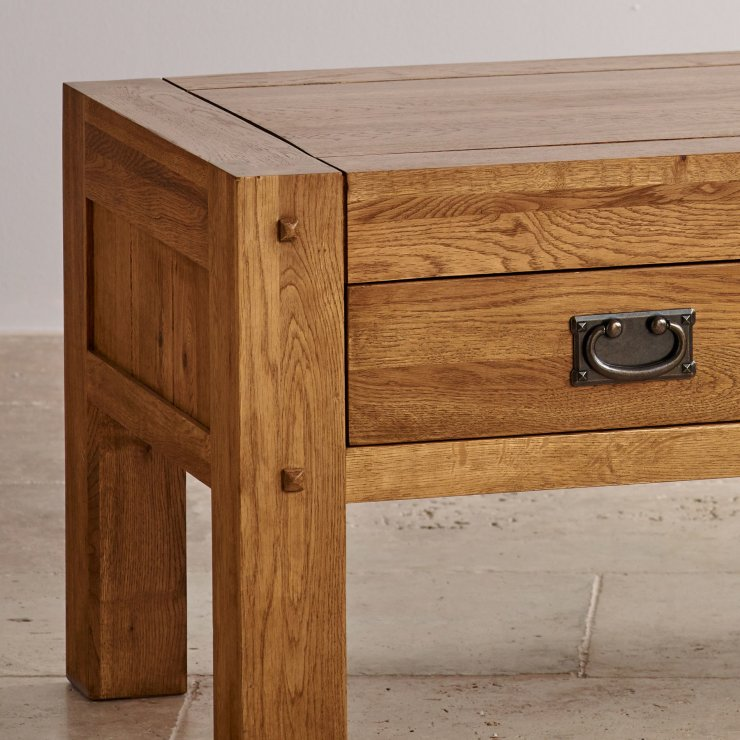 Quercus Rustic Solid Oak 4 Drawer Storage Coffee Table