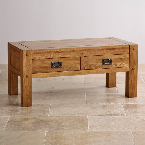 Quercus computer desk rustic oak oak furniture land for Solid oak coffee table with storage
