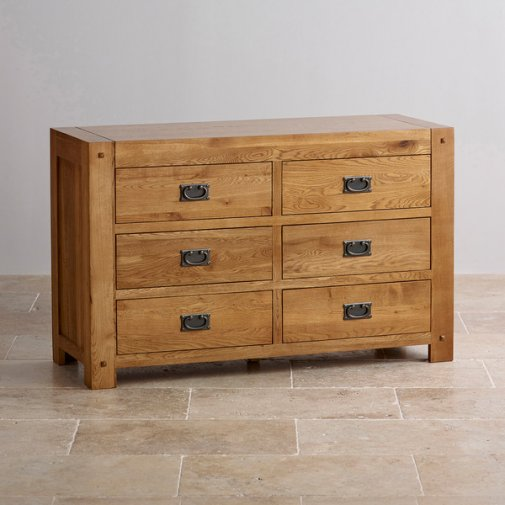 Quercus Rustic Solid Oak 6 Drawer Chest