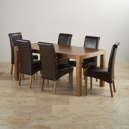 Quercus Rustic Solid Oak 6ft Dining Table with 6 Scroll Back Brown Leather Chairs