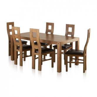 Quercus Rustic Solid Oak 6ft Dining Table with 6 Wave Back and Brown Leather Chairs