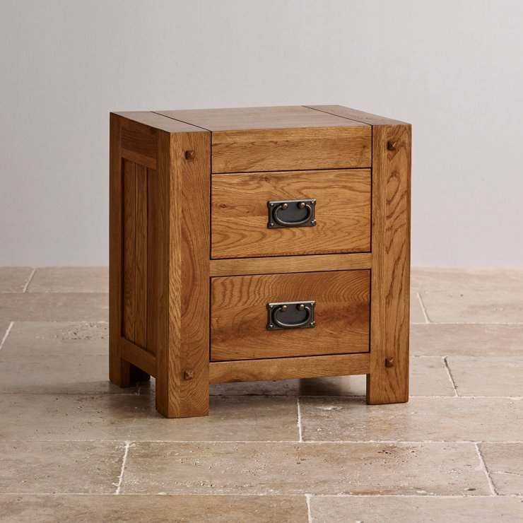 Quercus Rustic Solid Oak 2 Drawer Bedside Table