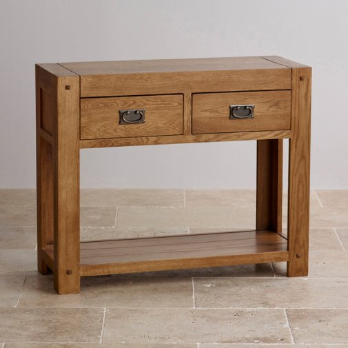 Quercus Rustic Solid Oak Console Table