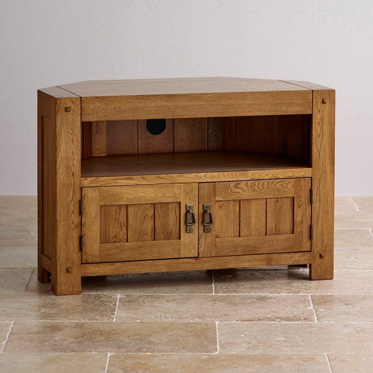 Quercus Rustic Solid Oak Corner TV Cabinet