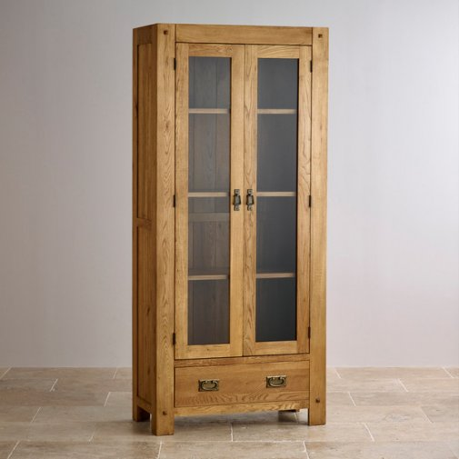 Quercus Rustic Solid Oak Glazed Display Cabinet