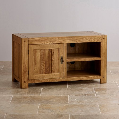 Quercus Rustic Solid Oak Small TV Cabinet