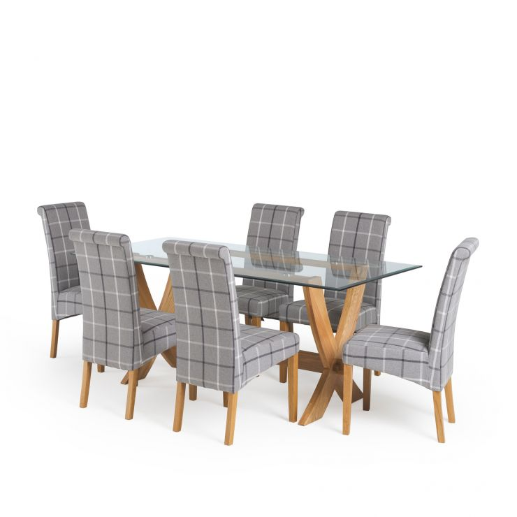 "Reflection 5ft 9"" Glass Dining Table in Natural Solid Oak + 6 Scroll Back Grey Checked Fabric Chairs - Image 1"