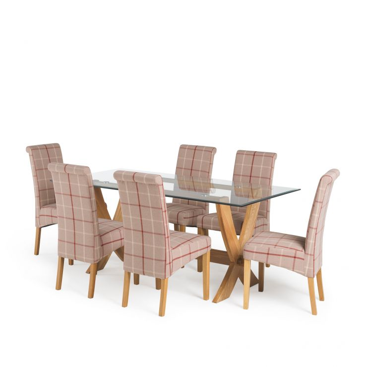 "Reflection 5ft 9"" Glass and Natural Solid Oak Dining Table and 6 Checked Fabric Scroll Back Chairs"