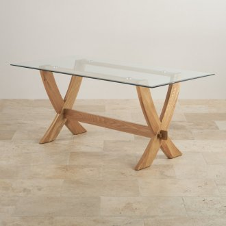 Reflection Glass Top and Natural Solid Oak 6ft x 3ft Crossed Leg Dining Table