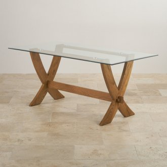 Reflection Glass Top and Rustic Solid Oak 6ft x 3ft Crossed Leg Dining Table