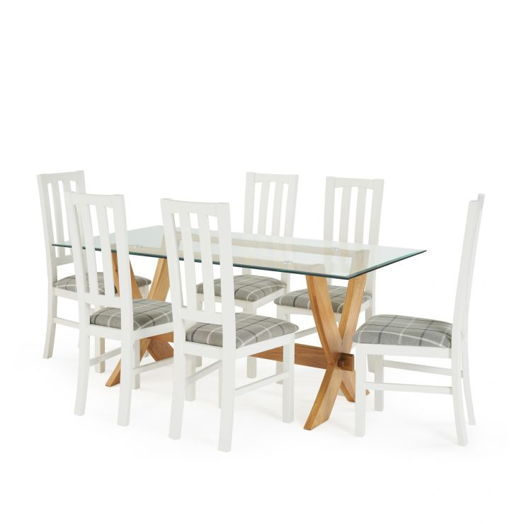 "Reflection 5ft 9"" Glass Dining Table in Natural Solid Oak and 6 Shaker White Hardwood Chairs"