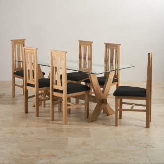 Reflection Glass Top and Natural Solid Oak 6ft x 3ft Crossed Leg Dining Table with 6 Tokyo Chairs