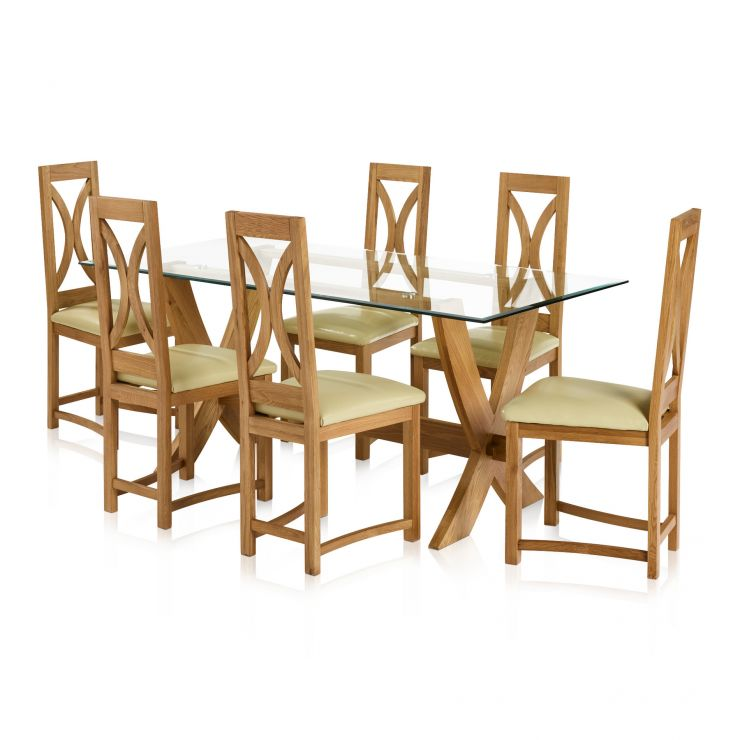 Reflection Natural Solid Oak Dining Set - 6ft Table with 6 Loop Back and Cream Leather Dining Chair