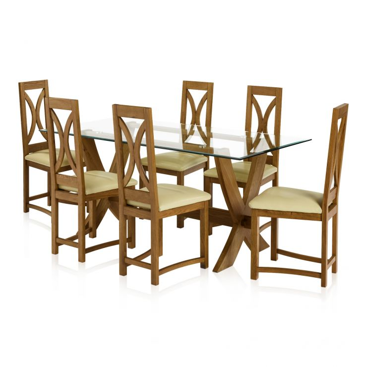 Reflection Rustic Solid Oak Dining Set - 6ft Table with 6 Loop Back and Cream Leather Dining Chair