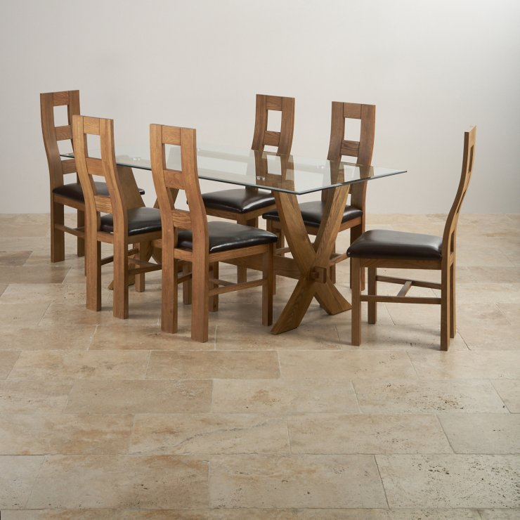 Reflection Rustic Solid Oak Dining Set - 6ft Table with 6 Wave Back and Brown Leather Chairs - Image 5