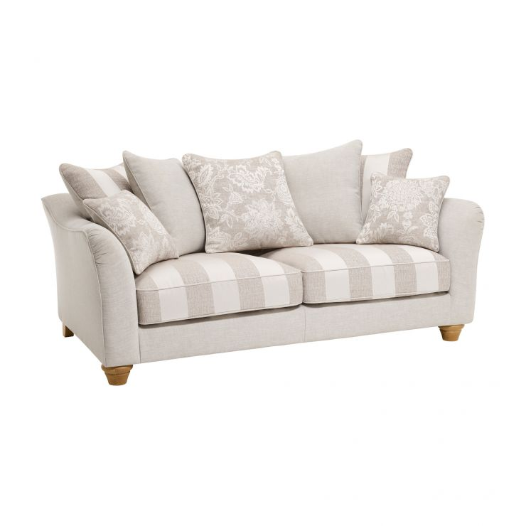 Regency 3 Seater Pillow Back Sofa in Lyon Silver  - Image 1