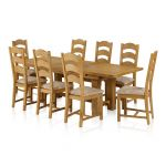 "Rhodes 5ft 3"" – 9ft 2"" Extendable Dining Table in Natural Solid Oak and 8 Rhodes Chairs - Thumbnail 1"